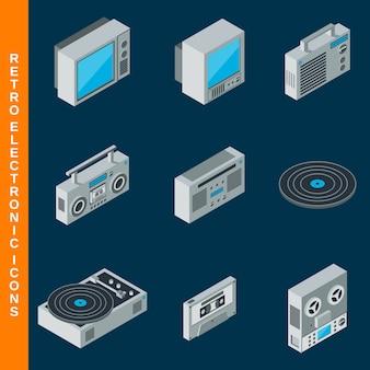 Izometryczne płaskie 3d retro zestaw ikon elektronicznych