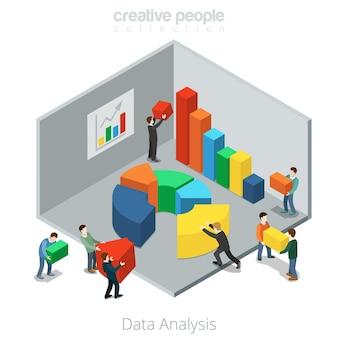 Izometryczne płaskie biznesmeni przesuwają segmenty diagramu pojedynczą całość. analiza danych koncepcja izometrii 3d.