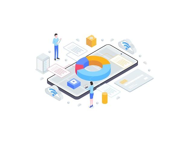 Izometryczne płaskie ilustracja zarządzania rachunkowością. nadaje się do aplikacji mobilnych, stron internetowych, banerów, diagramów, infografik i innych zasobów graficznych.