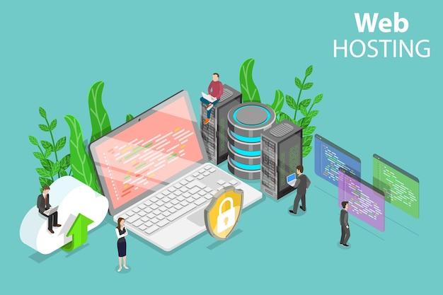Izometryczne płaskie pojęcie usługi hostingowej, przetwarzania w chmurze, centrum danych.