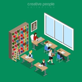 Izometryczne płaskie wnętrze biblioteki na ilustracji szkoły, uczelni lub uniwersytetu. koncepcja izometrii edukacji i wiedzy. bibliotekarz, studenci czytający, studiujący, odrabiający prace domowe i regał.