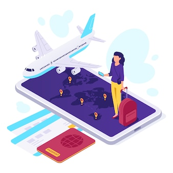 Izometryczne podróż samolotem. podróżnik walizka, samolot podróżuje i podróżuje 3d wektoru ilustrację
