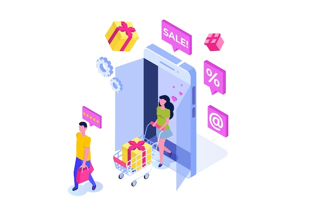 Izometryczne pojęcie zakupów online z postaciami