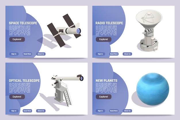 Izometryczne poziome banery astronomiczne ustawione z niebieską planetą kosmiczną teleskopami optycznymi i radiowymi 3d