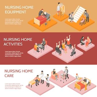 Izometryczne poziome bannery domu opieki