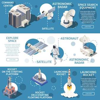 Izometryczne poziome bannery z ilustracją sprzętu do eksploracji kosmosu