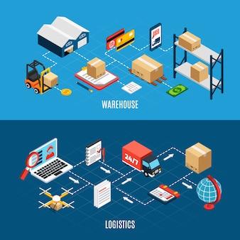 Izometryczne poziome bannery zestaw z ciężarówek logistycznych i usługi dostawy 3d