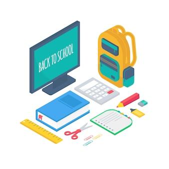 Izometryczne przybory szkolne 3d zestaw z comrulerem, kalkulatorem, książką, notatnikiem, długopisem, plecakiem, nożyczkami, gumką, zakreślaczem i linijką.