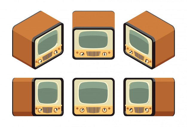 Izometryczne retro telewizory