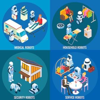 Izometryczne roboty medyczne, domowe i usługowe