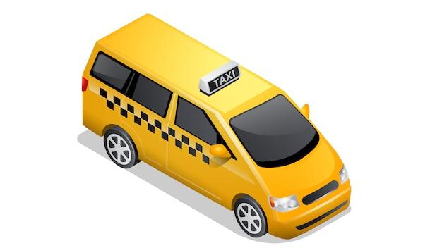 Izometryczne samochód ikona kratkę taksówki na białym tle