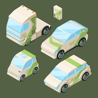 Izometryczne samochody elektryczne. różne samochody ekologiczne na białym tle