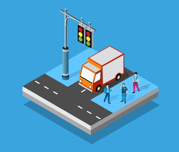 Izometryczne skrzyżowanie skrzyżowań ulic autostrad