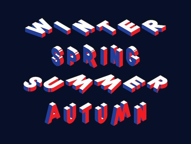 Izometryczne słowa zima, wiosna, lato i jesień w efekcie 3d