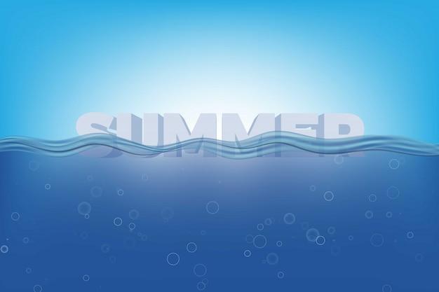 """Izometryczne słowo """"lato"""" pod realistycznymi przezroczystymi falami wody"""