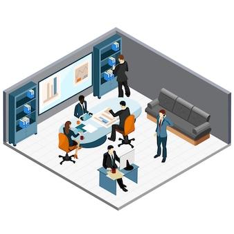 Izometryczne spotkanie biurowe
