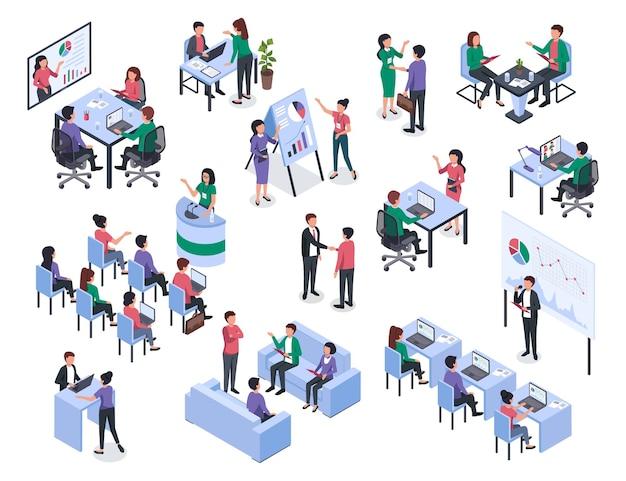 Izometryczne spotkanie w biurze, trener coachingu biznesowego i mentoringu, przedstawia zestaw wektorów projektu