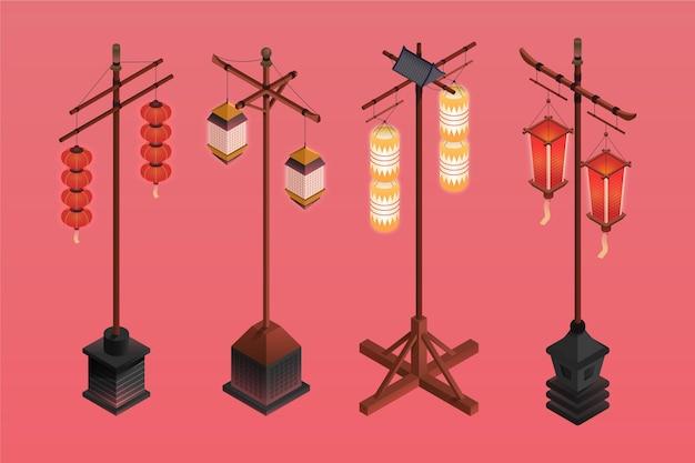 Izometryczne starożytne japońskie długie latarnie