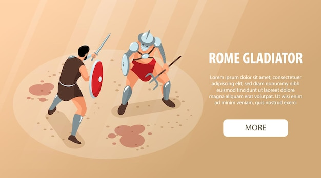 Izometryczne starożytne rzymskie gladiatorów poziomy baner z przyciskiem do edycji tekstu więcej i walczącymi z wojownikami krwią