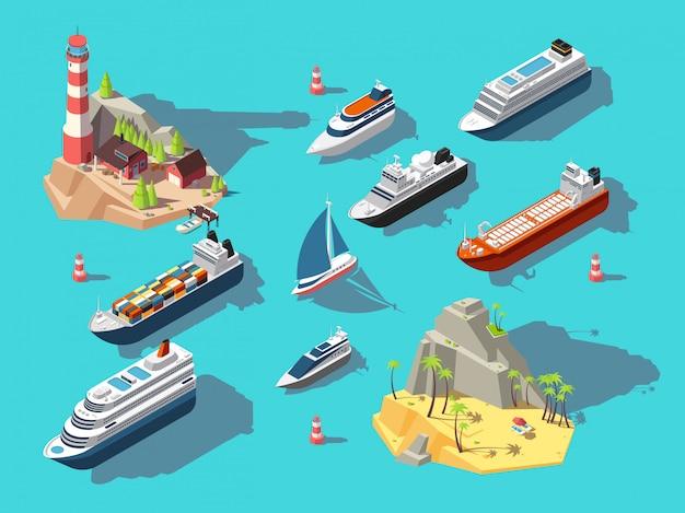 Izometryczne statki. łodzie i żaglówki, tropikalna wyspa oceanu z latarnią morską i plażą. 3d ilustracji