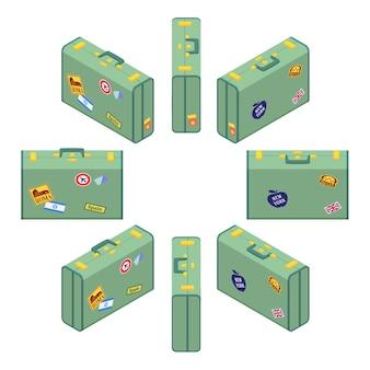 Izometryczne stojące zielone walizki podróżnych