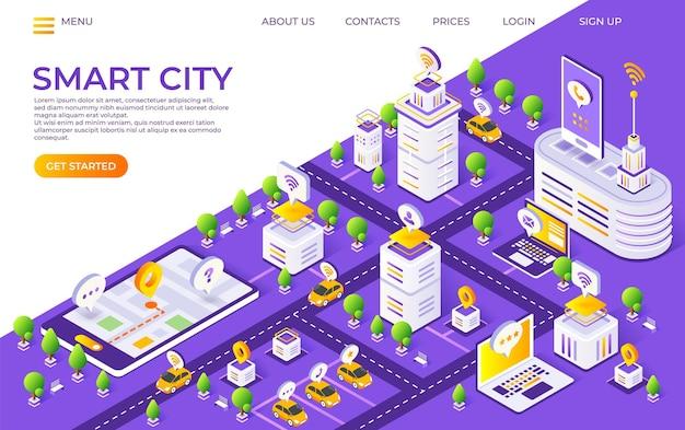 Izometryczne strona docelowa miasta. koncepcja inteligentnego miasta z futurystycznymi budynkami i transportem. ilustracja wektorowa globalna strona internetowa technologii miast platforma innowacji
