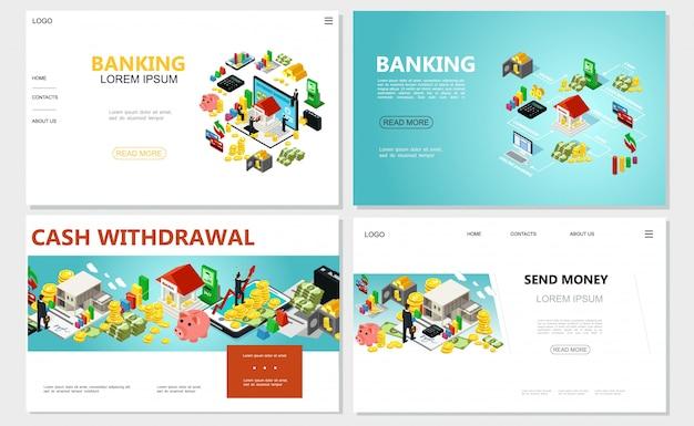 Izometryczne strony internetowe banków z elementami finansowymi bankomat bankomat pieniądze gotówkowe monety mobilne płatności bezpieczne karty kredytowe