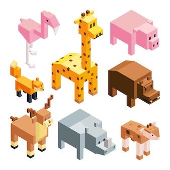 Izometryczne stylizowane zwierzęta 3d