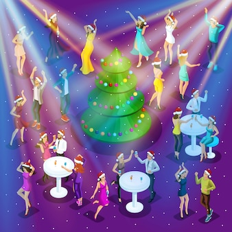 Izometryczne święta bożego narodzenia, taniec, szczęście mężczyzny i kobiety bawią się, świąteczna choinka w centrum, impreza firmowa-01