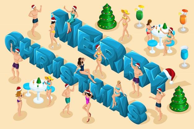 Izometryczne świętowanie, mężczyźni i kobiety w strojach kąpielowych bawią się na tle wielkich liter