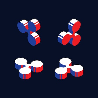 Izometryczne symbole kryptowaluty ripple w kolorach czerwonym, niebieskim i białym