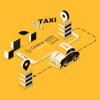 Izometryczne taksówki online, aplikacja na smartfona