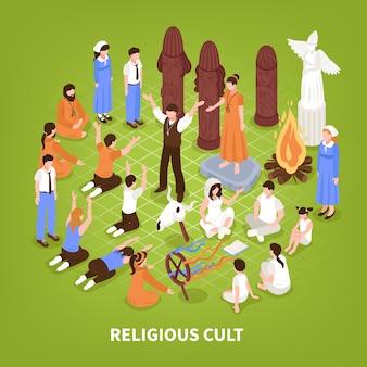 Izometryczne tło kultu religijnego