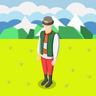 Izometryczne tło kultury wielonarodowej z figurką mężczyzny ubranego w tradycyjny strój jego ilustracji kraju