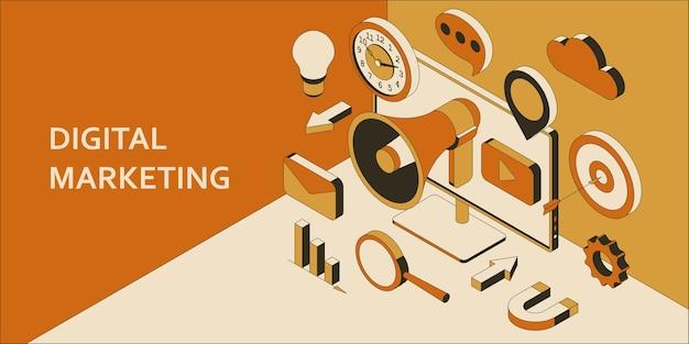 Izometryczne tło marketingu cyfrowego. koncepcja technologii marketingowej. promocja i komunikacja w mediach społecznościowych.