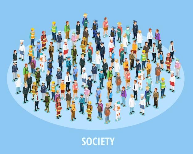 Izometryczne tło profesjonalnego społeczeństwa