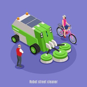 Izometryczne tło z robota do czyszczenia ulic samochodu z okrągłymi szczotkami w otoczeniu ludzi znaków z tekstem