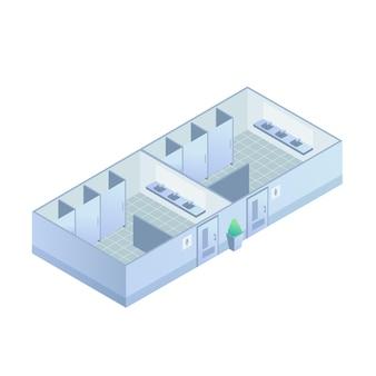 Izometryczne toalety publiczne