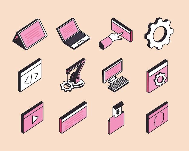 Izometryczne tworzenie stron internetowych i zestaw ikon technologii