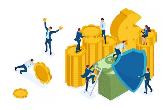 Izometryczne ubezpieczenie ryzyka inwestycyjnego, przedsiębiorcy ubezpieczają pieniądze i aktywa.