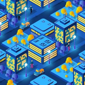 Izometryczne ultra miasto koncepcja stylu fioletowego, ultrafioletowy 3d nowoczesny projekt miejskiej ulicy wieżowca, latarnie uliczne i budowa miasta drogowego. ilustracja wektorowa nowoczesnego tła biznesowego.