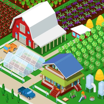 Izometryczne wiejskie pole rolnicze z szklarnią i ogrodem. ilustracja