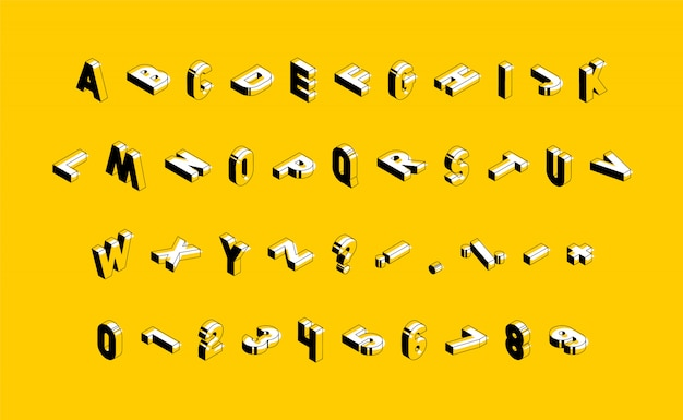 Izometryczne wielkie litery, cyfry i znaki na żółtym tle. modny alfabet vintage