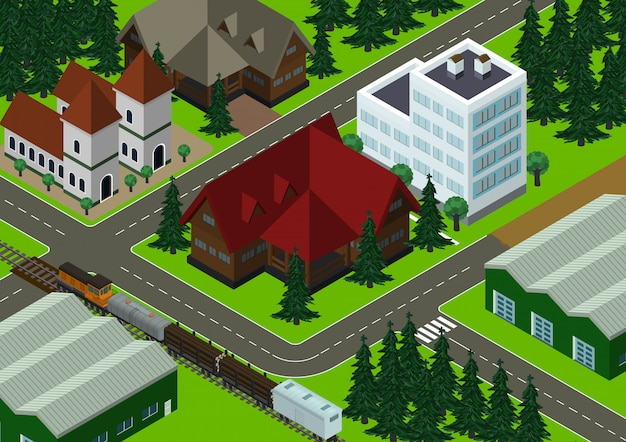 Izometryczne wieś ilustracja