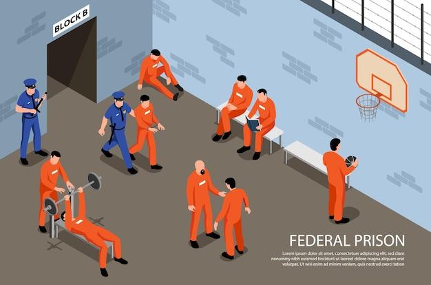 Izometryczne więzienie federalne z więźniami wykonującymi ćwiczenia fizyczne w hali sportowej pod nadzorem strażników ilustracja