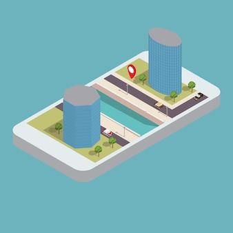 Izometryczne wieżowce na brzegu rzeki z drogą i telefonem. mobilna nawigacja gps smartfon.