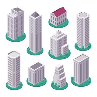 Izometryczne wieżowce skyline budynki biurowe miasta 3d izometryczny zestaw ilustracji wektorowych