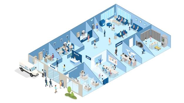 Izometryczne wnętrze banku. ludzie stojący w biurze banku i dokonujący operacji finansowych za pieniądze. recepcja, kantor i dział kredytów. ilustracja na białym tle wektor