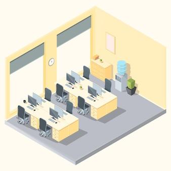 Izometryczne wnętrze biurowe z meblami i komputerami, ilustracja wektorowa