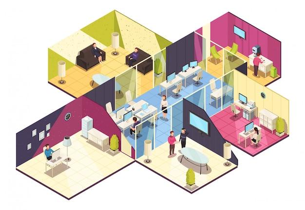 Izometryczne wnętrze budynku biurowego
